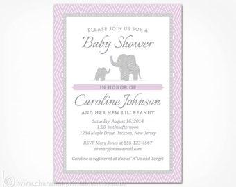 Purple Elephant Baby Shower Invitation - PRINTABLE Purple and Grey Gray Invite for Girl Jungle Safari