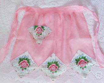 Vintage Half Apron Pink Organdy With Handkerchiefs Hankie Hostess Apron