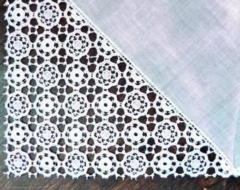 Vintage White Lace Handkerchief