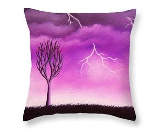 Spooky Throw Pillow, Purple Storm Art, Halloween Decor, Decorative Purple Pillow, Storm Lover Accent Pillow, Sofa Pillow, Designer Cushion