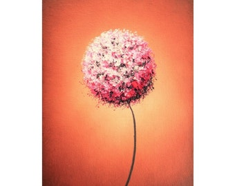 Pink Dandelion Abstract Art Print, Impressionist Art Abstract Flower, Abstract Pink Flower Art, Brown Landscape, Mid Century Modern Wall Art