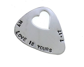 Personalized Guitar Pick - Hand Stamped Stainless Steel Guitar Pick - Heart Cutout