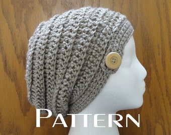 Crochet  Slouchy Beanie PATTERN Beehive Button Beanie Hat Pattern Only