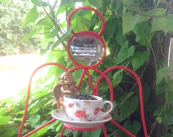 Angel Tea Cup Bird Feeder w/Cherub Pot Hanger - Red Metal Garden Patio Apartment