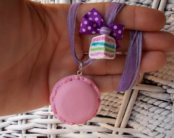 necklace, sweet macarons with cake