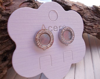 earrings, steel and mother of pearl