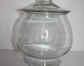 Clear Glass Anchor Hocking Cookie Candy Display Apothecary Jar with Lid/Round Cookie Jar