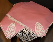 Set of 4 Antique Pink Napkins with Hand Tatted Lace