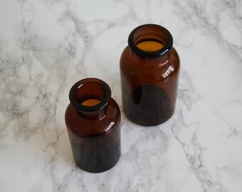 Vintage Apothecary Bottles - Pair of Vintage Amber Glass Apothecary Bottles, Medicine Jars, Vases - Science Decor