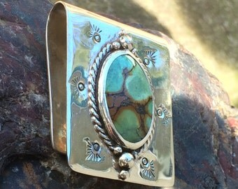 Turquoise and sterling silver money clip
