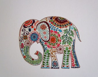 "Elephant Patch X Large 10"" Iron On Applique Patch"