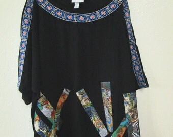 Boho Tunic Upcycled Embroidered Top SZ 3X 4X