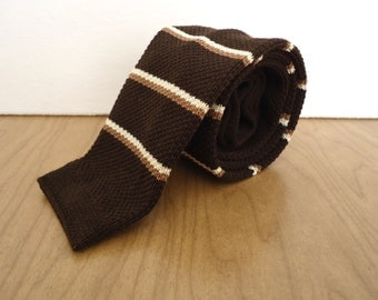 Vintage Cotton Lisle Knit Tie / men's brown & white stipe necktie