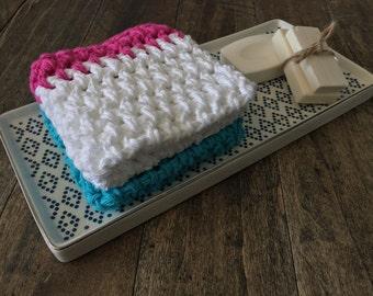 Set of 2 Dish Cloths, Modern Crochet Dishcloths. Dish cloth cotton rag bright kitchen textiles. Housewarming hostess graduation gift for her