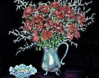 "Fine art 6X6 original still life oil painting ""Sedum & Silver"""