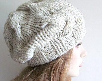 PDF Instant Download Knitting Pattern Cabled Chunky Slouchy Beanies Berets Tam Cable Hipster Hats Womens