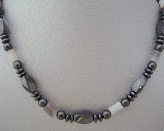 Magnetic Hematite Necklace with Botswana Agate