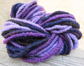 Handspun Yarn, Art Yarn, Bulky, Wool, 3 ply, Merino, Silk, Chunky, Textured, Sparkle, Purple Pleasure
