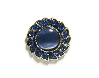 Blue Rhinestone Snap Button For Snap Jewelry