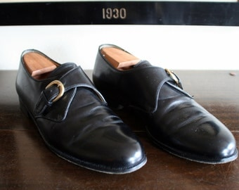 FANTASTIC Vintage Cole Haan Black Leather Monk Strap Monkstrap Loafers Shoes 11 1/2 B.  Made in Italy.