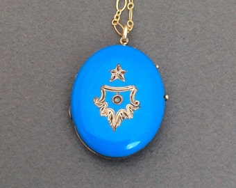 Antique Victorian Robin's Egg Blue Enamel Star and Seed Pearl Locket Necklace