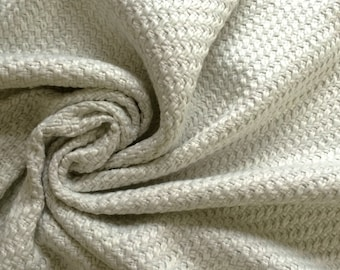 Ivory  Tweed Basketweave Textured Coat jacket fabric - Viscose Blend 150cm wide - Sold by the metre UK SELLER