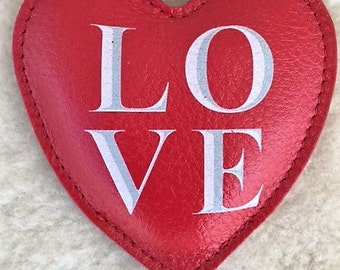 Love Leather heart paperweight Love block letters stacked