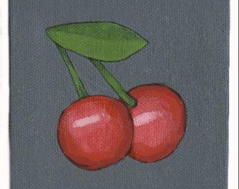 Emoji Cherry Painting Cherries Hand Painted Painting Wall Art Apartemnt Decor Painting Hand Painted Perfect Gift
