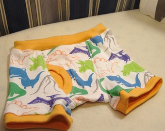 Multi-colored dinos boxer briefs, organic colorful dinosaur kids underwear, sizes 1T through 10