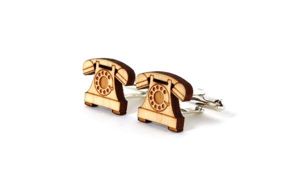Vintage phone cufflinks - retro telephone cuff links - vintage wedding accessory - jewelry for the groom - best man - lasercut maple wood