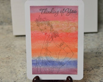 Watercolor Abstract Sunset Card