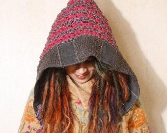 Knit hood Ear flap hat Pink Crochet hood Winter accessories Pixie hat Adult crochet hat Winter hat Crocheted hood woman gift  Hooded hat