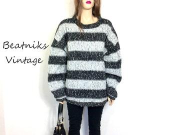 80's Sweater 90's Sweater 90s Slouchy Sweater Slouchy Jumper Striped Boyfriend Sweater Oversized Sweater Geometric Extra Large Ugly Clothing