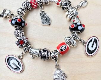 Authentic 925 PANDORA Bracelet with European Charms Georgia Bulldogs Football theme