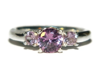 Alexandrite Ring, Three Stone Anniversary Ring, Sterling Silver