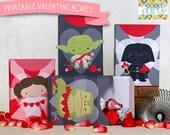 Valentine Printable DIY - Printable Party Supplies - Valentines Printable Boxes - Star Heroes