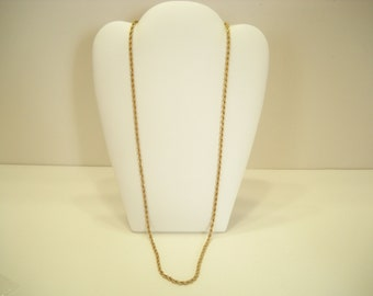 """Gorgeous Vintage 24"""" Gold Tone Twisted Chain Necklace (8293)"""