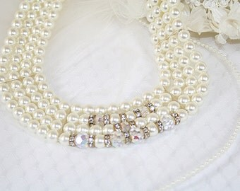 Faux Pearl Crystal Bead Necklace Wedding Any Special Occasion HandCrafted From New And Vintage Elements