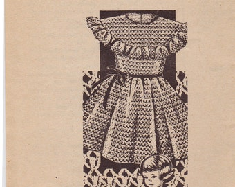 RARE 3107 Girl's Dress with Ruffle Crochet Vintage Pattern - American Weekly Mail Order - Size 2, 4, 6 - ORIGINAL