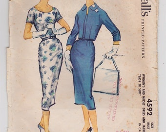 50s Sheath Dress Vintage Sewing Pattern - McCalls 4592 - Size 14, Bust 34, Womens Bolero or Cropped Jacket CUT