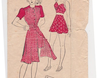 "FF 40s Playsuit with Halter Top and Shorts Vintage Sewing Pattern - New York 1564 - Play Dress Outfit Size 12, Bust 30"" UNCUT"