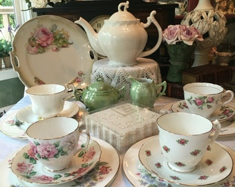 Complete English Tea Set, Mismatched Tea Set, Tea Set for 4, 16 Piece Tea Set Instant Tea Party