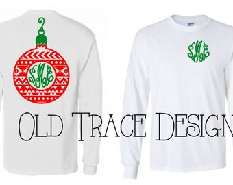 Youth Aztec Christmas Bulb Ornament Monogram Shirt Available in Long or Short Sleeve