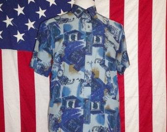 Massimo mens patroon 90 's shirt heren vintage shirt, lichte shirt, retro shirts, 90 's heren overhemd, casual shirt, patronen, de jaren negentig