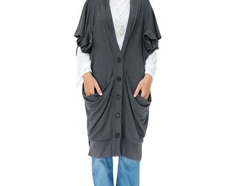 NO.177 Gray Cotton Jersey Fashionable Shawl Collar Vest, Sleeveless Long Cardigan, Women's Cardigan