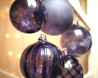 Mini Indigo Blue, Handmade, Blown Glass Christmas Bauble