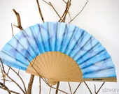 Hand fan handpainted spring. gift wedding. blue. personalized gift for women or girl.