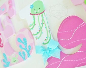 Pink Lime and Aqua Underwater Ocean Themed Wooden Letters for Nursery or Bedroom