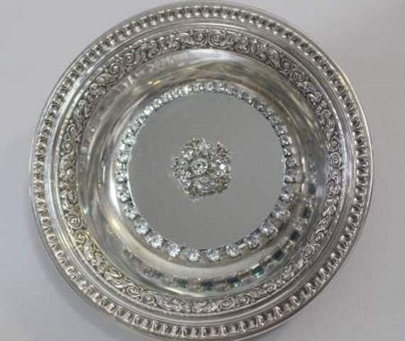 Small Elegant Edged  Silverplated  Mirrored  Tray/ Wall Decor