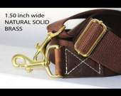 1.50 in wide SOLID BRASS - Brown adjustable cotton webbing shoulder strap with leather accent - Cross Body Messenger